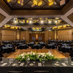 Tables and chairs wedding layout in the Savoy Ballroom, Grand Hyatt Melbourne